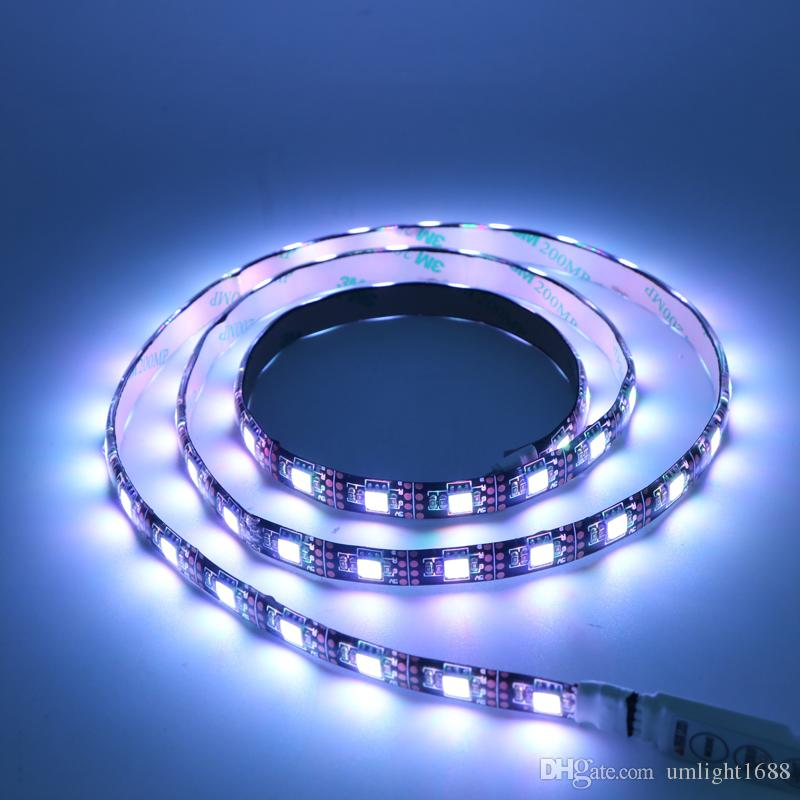 Umlight1688 1M USB LED Strip Light 5V 5050 SMD Black PCB IP65 Waterproof RGB Flexible TV Background Lighting Strip