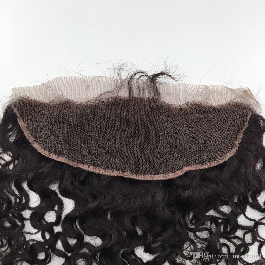 Chiusura frontale 13x4 nodi candeggiati acqua onda capelli mongolo orecchio all'orecchio frontali pizzo capelli pezzi chiusure dei capelli umani merletto frontale