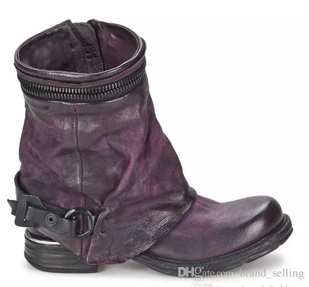 Cuero genuino de la vendimia de invierno botines de moda al aire libre de la motocicleta botas botines cortos de la mujer europea botas de equitación