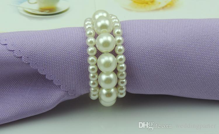 Hot selling White color Shiny Pearls Napkin Rings For Wedding Banquet Party Table Decoration Accessories