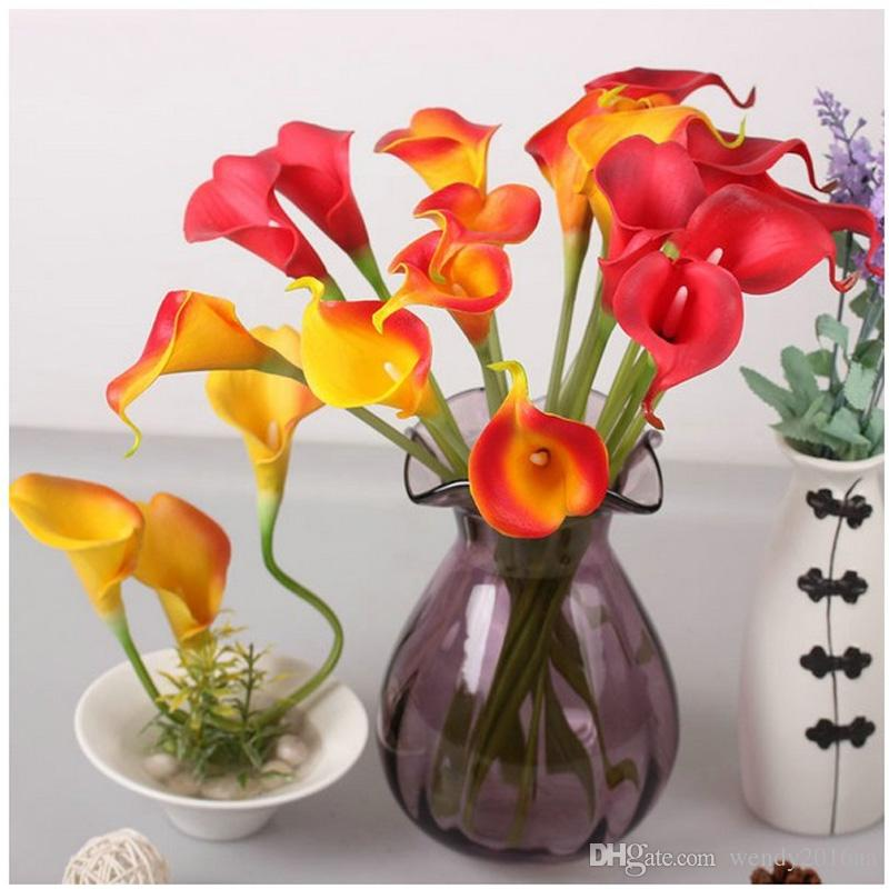 DHL free 100pcs/lot 2016 Mix color common callalily artificial flower PU 34cm table decorative wedding Display flowers