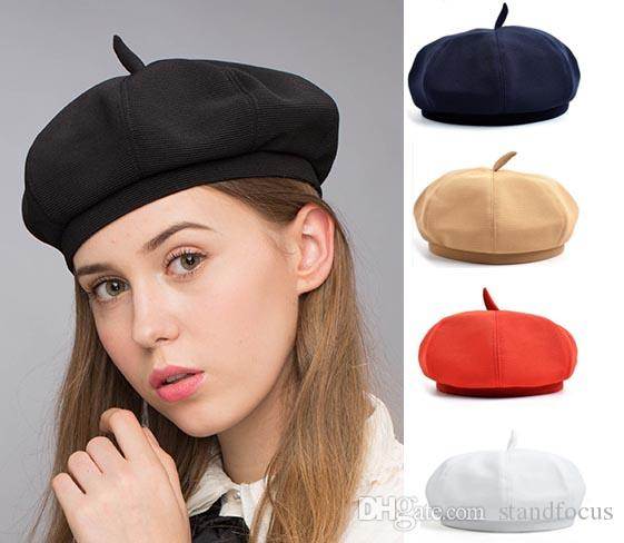 b59f70dd2dc1a Stand Focus Beret French Beanie Painter Hat Cap Women Female Artish Fashion  Unique Twill Fabric Newsboy Tam Multicolor Red White Black Navy Canada 2019  From ...