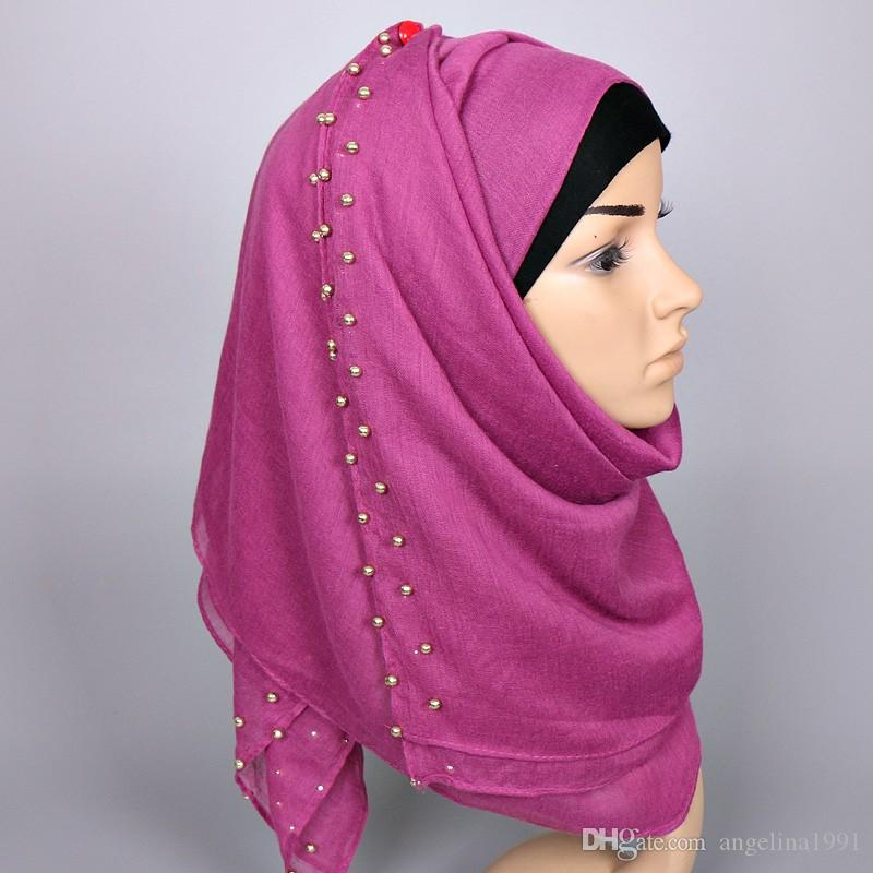 New deisgn women plain gold pearl shawls beaded headband scarf muffler hijab fashion wrap summer long muslim scarves