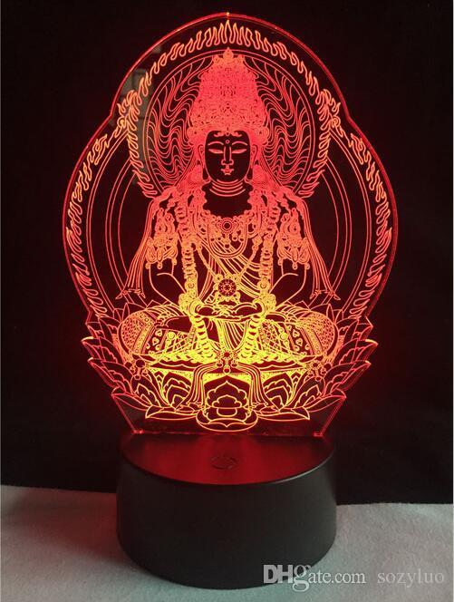 부처님 컬러 변경 야간 램프 3D 분위기 벌집 사무실 조명 장식 시각적 환상 아이들을위한 LED 장난감 크리스마스 생일 선물