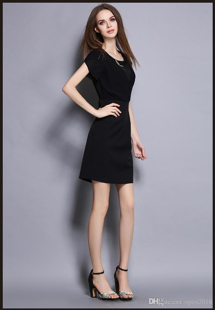 Black dress korean - 2016 Summer New Korean Women S Career Ol Commuter Slim Hotels Slim Dress Sexy Black Beauty Salons