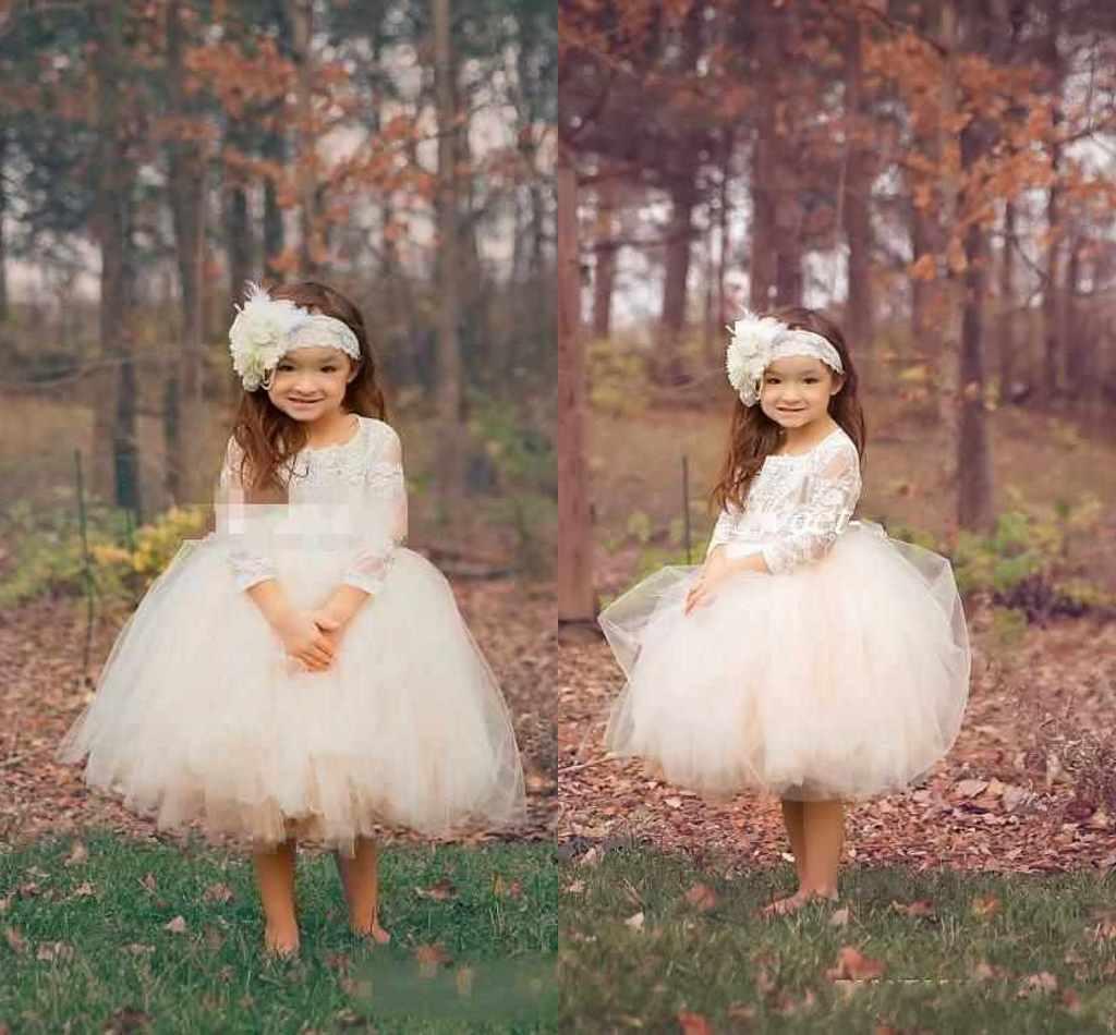 Abito da ballo carino Boho Country Wedding Flower Girl Dresses Illusion Manica lunga Tulle Gonne Lunghezza tè 2016 Abiti da comunione bambini economici bambini