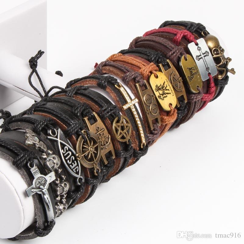 Band-neue Weinlese-Metallleder-Mens-Frauen-Surfer-Armband-Stulpe-Armbandlose mischte Art-Legierungsanhänger Retro Schmuck-Charme-Armband