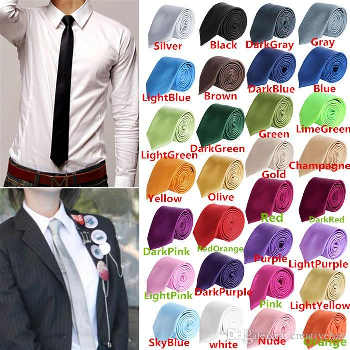 67f17489a6c1 2017 Fashion Men Women Skinny Solid Color Plain Satin Polyester Silk Tie  Necktie Neck Ties 5cmx145cm Wedding Ties Mens Bow Ties From Creativebar, ...