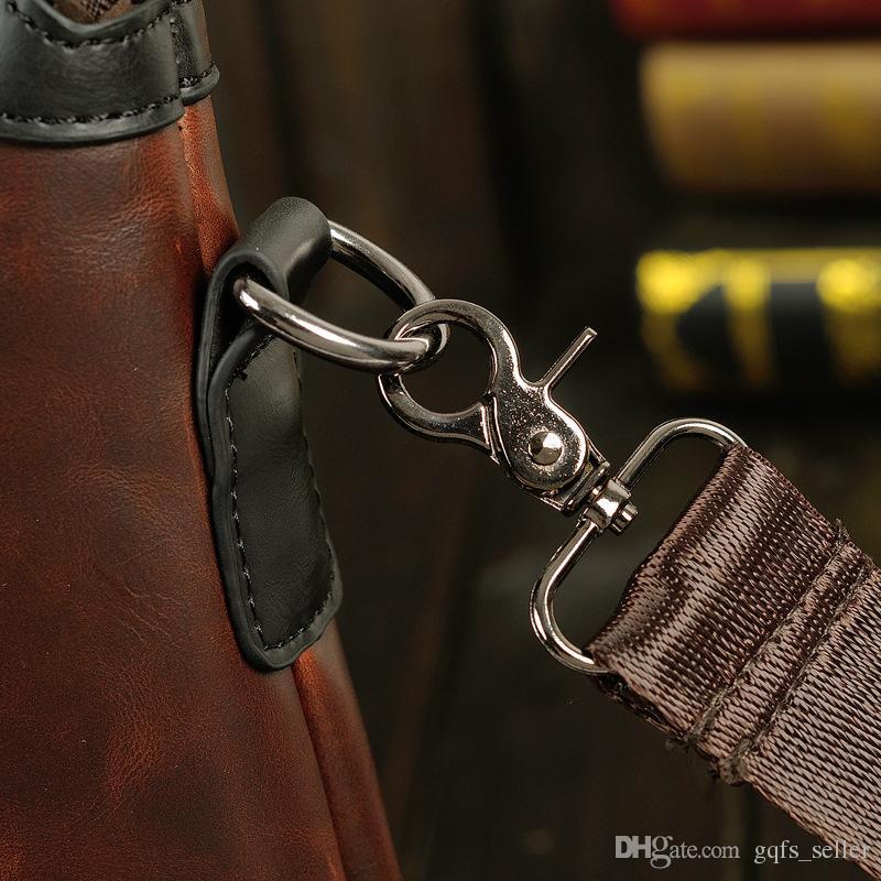Mens il cuoio genuino Cartella Zaino del progettista di marca borsa di Crossbody del messaggero di affari Vintage Valigetta College di lavoro trasportare bagagli