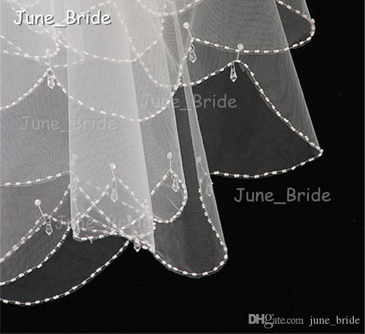 High Quality Bridal Veil Crystal Drop Beaded Bridal Veil Hand Sew Elbow Length with Comb Two Layer 2T Wedding Hair Accessory