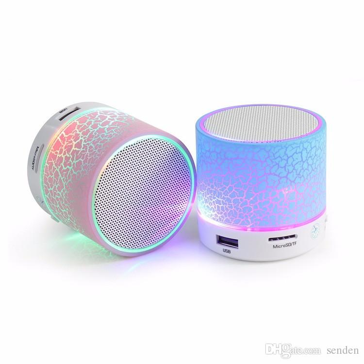 Hot Mini Bluetooth LED Light Speaker S08U Portable Speakers Suppor Hands-free Calls Volume Control TF Card Music Playing Built-in Microphone