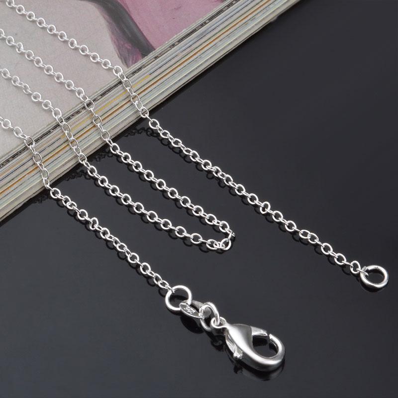 925 Ayar Gümüş O Kolye Zinciri 1mm 16-24 inç DIY Takı Kolye Kolye Noel Hediyesi Kadın Erkek Hediye Yeni