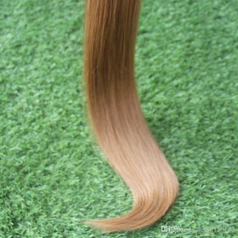 Appliquer la bande adhésive de peau de trame Ombre ruban dans les extensions de cheveux humains 40 pièces 100g bande adhésive peau de cheveux trame # 1bT # 27 couleur deux tons