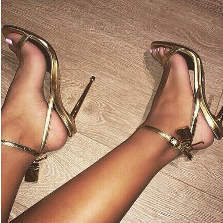 Sexy Women Summer Open Toe Gold High Heel Lock Ankle Strappy Strap ...