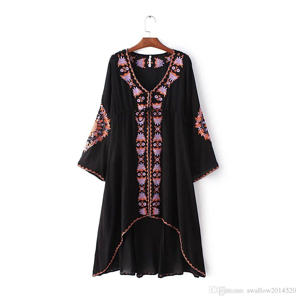 Black/White Women Vintage Ethnic Flower Embroidered Tunic Casual Long Dress Hippie Boho People Asymmetric High Low