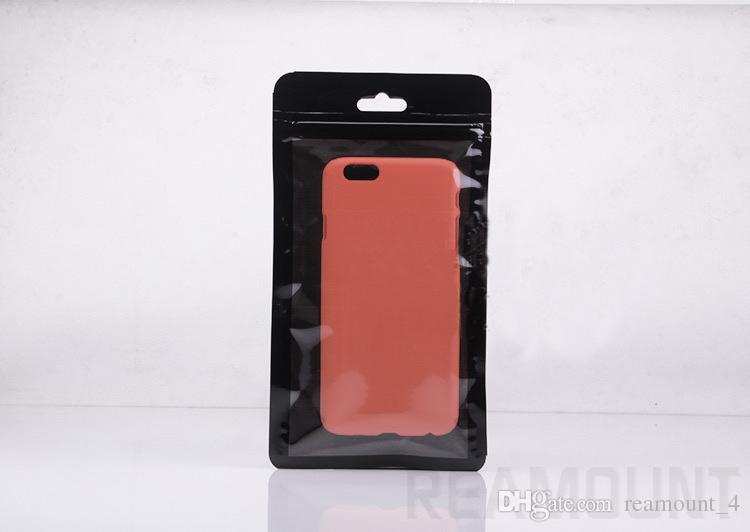Benutzerdefinierte Logo Universal neue Poly-Paket Tasche für Telefon Abdeckung für iPhone 8 8 Plus Einzelhandel schwarz leer Reißverschluss Verpackung Tasche
