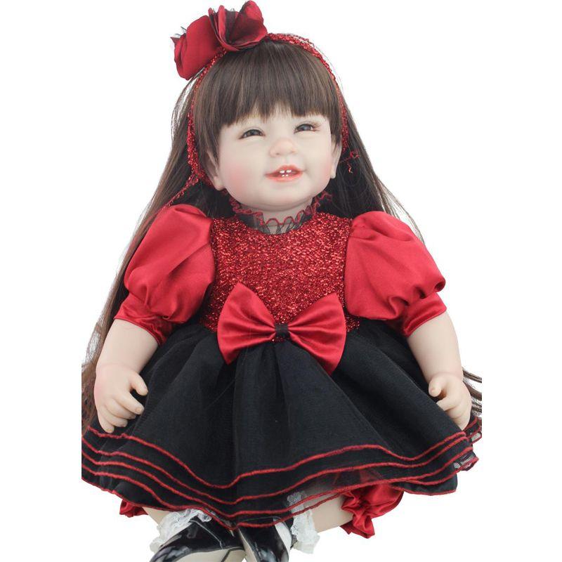 Großhandel 50 55cm Silikon Reborn Baby Doll Nettes Kleid Reborn ...