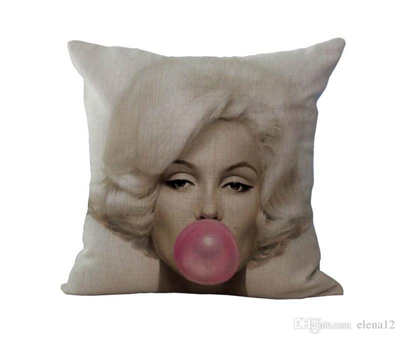 Taie d'oreiller de haute qualité Invisible Zipper Marilyn Monroe, taie d'oreiller Hepburn, housse de coussin Marilyn Monroe Hepburn 240427