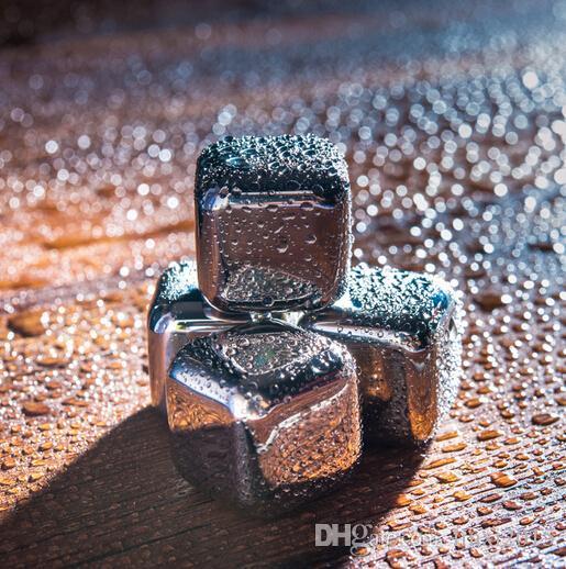 100 adet / grup DHL Fedex Ücretsiz Kargo Paslanmaz Çelik Viski Taşlar Buz Küpleri Soapstone Buzulu Soğutucu Taş