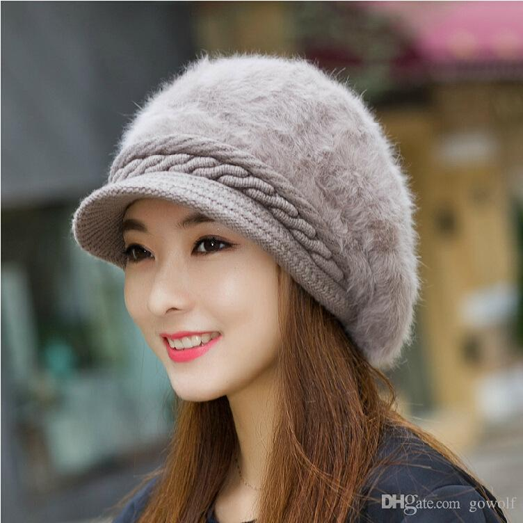 Rabbit Fur Winter Beanies Knit Women S Cap Winter Hats For Women Ladies  Beanie Girls Skullies Caps Bonnet Femme Snapback Wool Warm Hat 2017 UK 2019  From ... 43074c07578