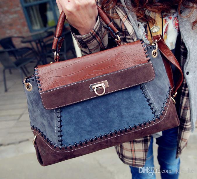 2017 Korean version Distressed of the new denim Bag Handbag Bag retro matte denim bag cross Two-tone stitching