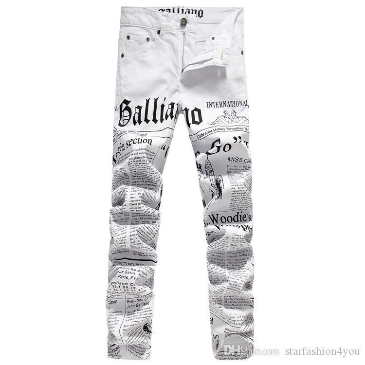 New Original Design Top Quality Men's Galliano Slim Jeans Punk Rock Nightclub DS DJ Newspaper printed pattern Jeans Hairstylist beggar pants