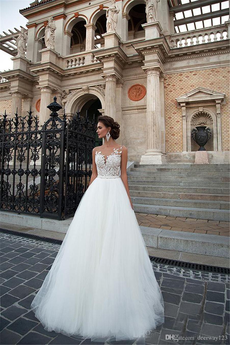 A 라인 빈티지 레이스 Appliqued 페르시 웨딩 드레스 신부 가운 최신 섹시한 스쿠프 넥 민소매 웨딩 드레스