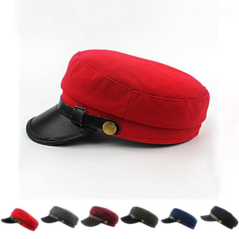 55a048c895c ... order unisex army cadet military navy sailor cap flat caps top beret hat  leather buckle for