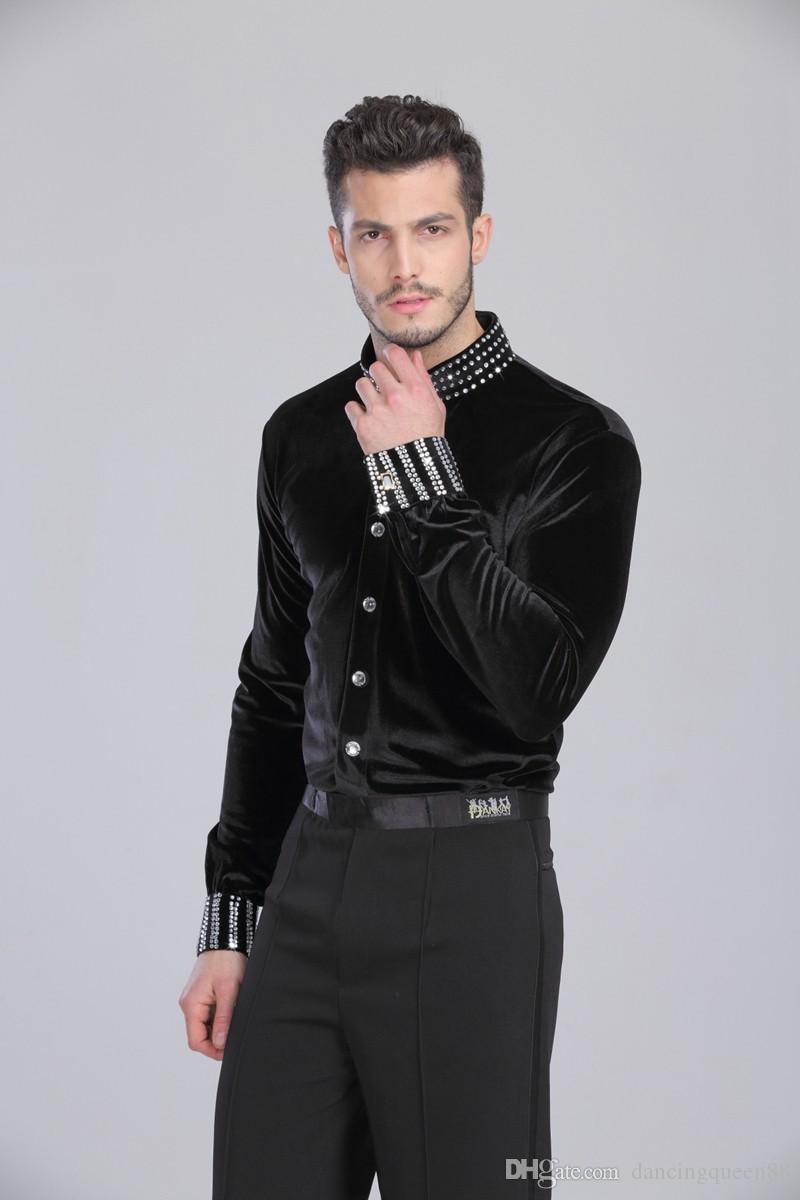 2018 Latin Dance Top Man 165-180cm Camicia da ballo da sala Nero Spandex + Velvet + Drill Camicia da ballo uomo Tango / Cha Cha / Rumba Dancewear