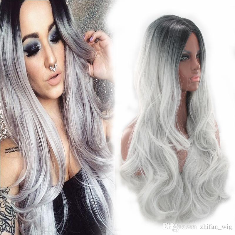 Z&F Grey Wig Ombre Grey Bob Women's Synthetic Wig 65cm Curly Wigs Black Women Deep Wave