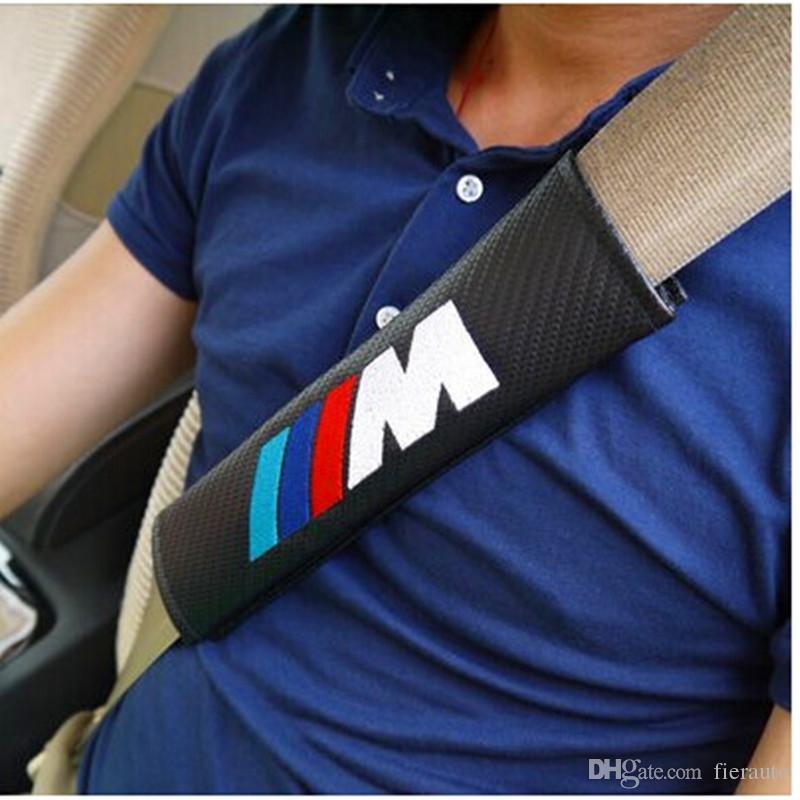 BMW E46 E39 E90 E60 F30 F10 F20 E36 X5 E53 X3 E34 E30 자동차 - 스타일링 탄소 섬유 자동차 스타일링 안전 벨트 커버 케이스 어깨 패드