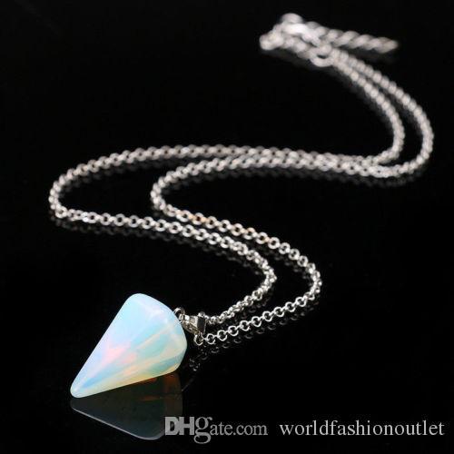 Gemuno naturale Cristallo Guarigione Chakra Reiki Argento Pietra Pendente Collana Collana perlina esagonale Prisme cono Pendutum Pendants Crystals