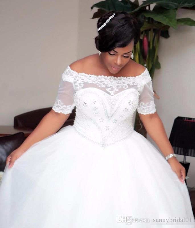 Modest Plus Size Kleider Shinning Boot-Ausschnitt Ballkleid plus Größe Hochzeit mit Hülsen wulstigen Kristallen Hochzeit Kleid afrikanischer Brautkleider