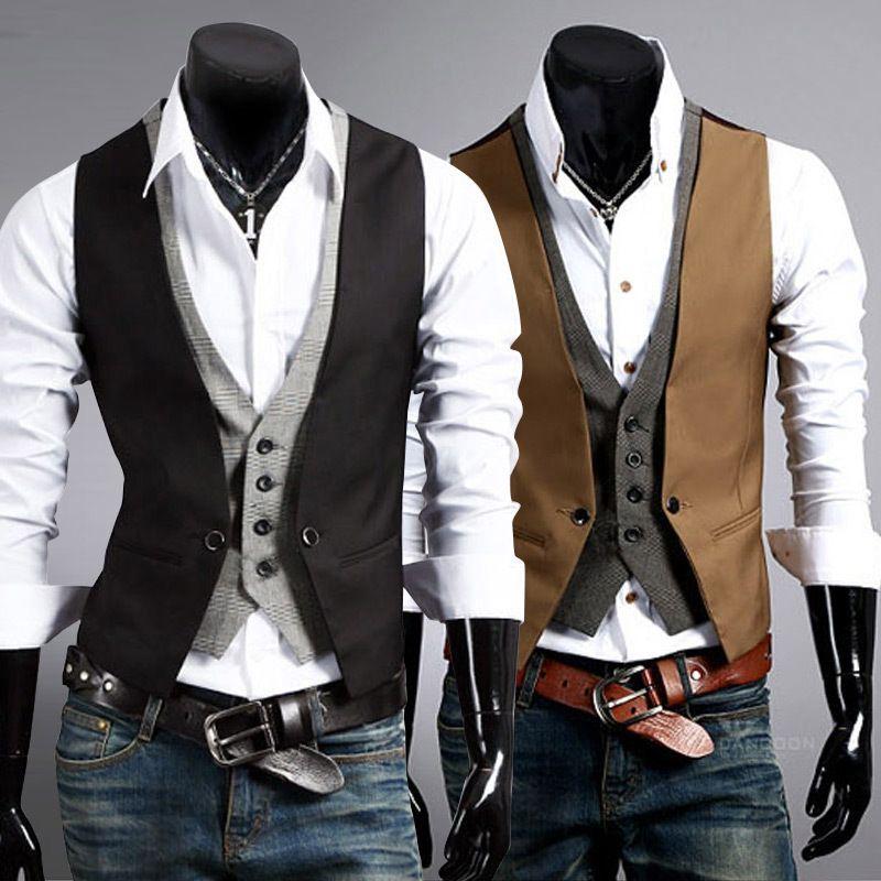 V Neck Men S Vest Collar Vest Metrosexual Man Two Spell Color