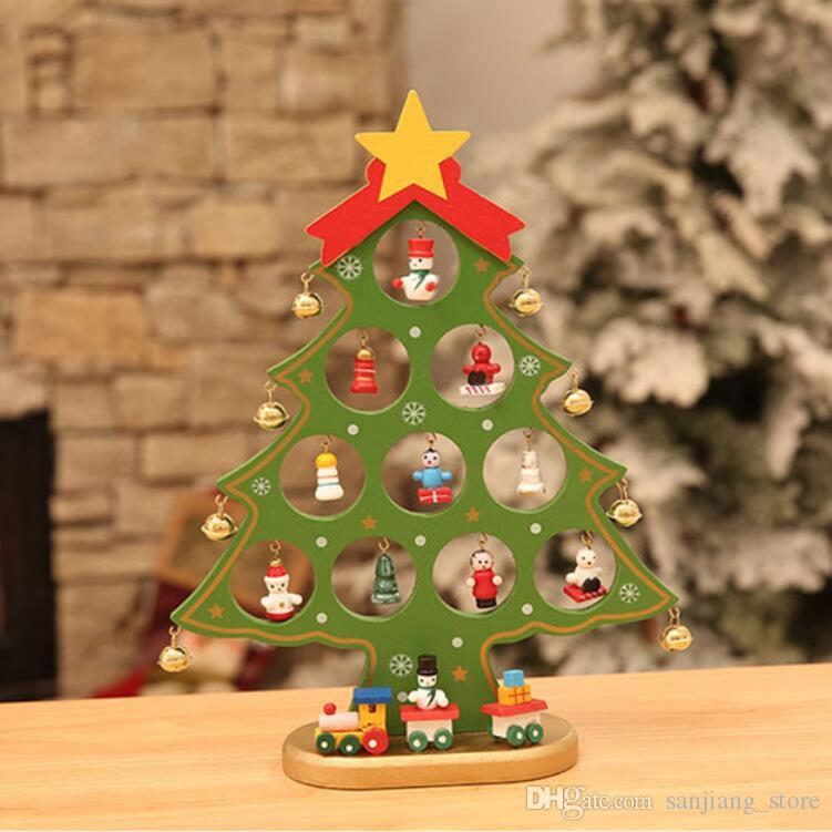 2821cm 2317cm diy mini desktop christmas tree ornaments cute wooden top star decoration bells craft xmas tree for festival pary dhl big christmas