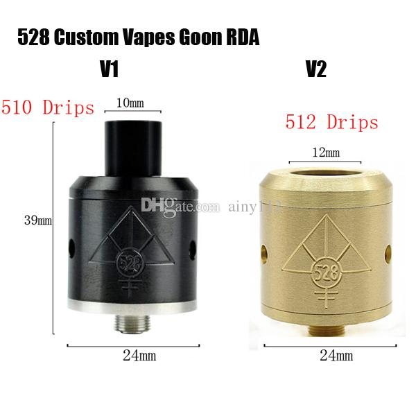 Vaporizer 528 CUSTOM Vapes Goon RDA e cigs Atomizer Clone 512 drip tips 24MM Tank E Cigarette Fit Mechanical Box Mods DHL free