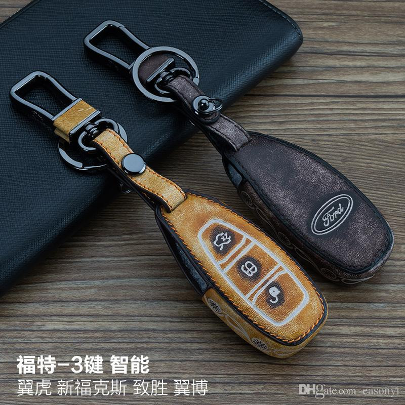 For Ford Kuga Focus EcoSport Mondeo 3 Buttons Smart 100% Genuine leather Graffiti Remote Control Car Keychain key cover Auto Accessories