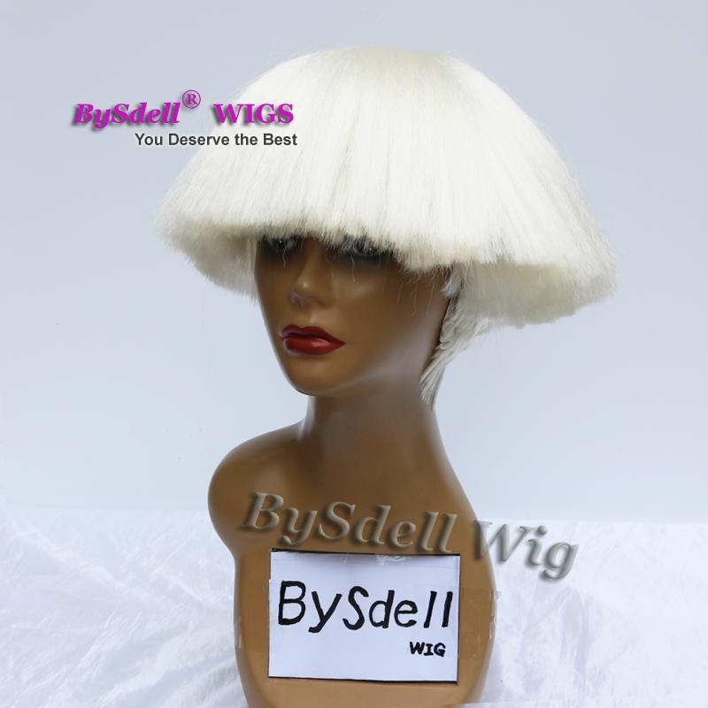 Hot sale celebrity Lady Gaga Drag Queen Hairstyle Wig Synthetic Heat resistant beige white color hair Wig Female/ Male cosplay party wigs