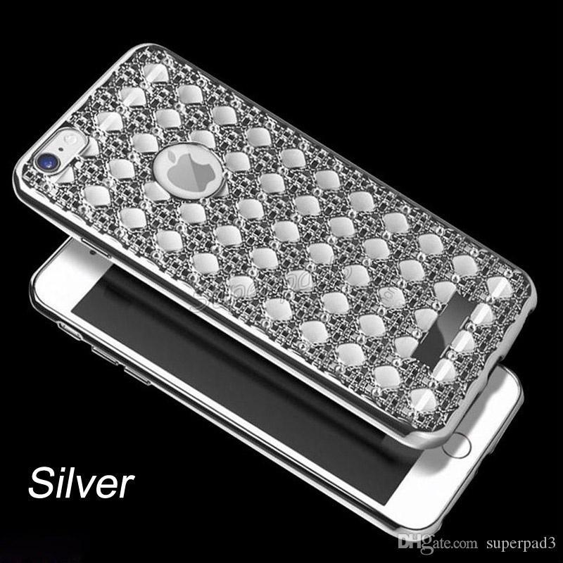Haute Qualité De Luxe Diamant Placage Bumper TPU Silicium Souple grille Antichoc Couverture De Protection Argent Or Rose OrPour Iphone Free DHL