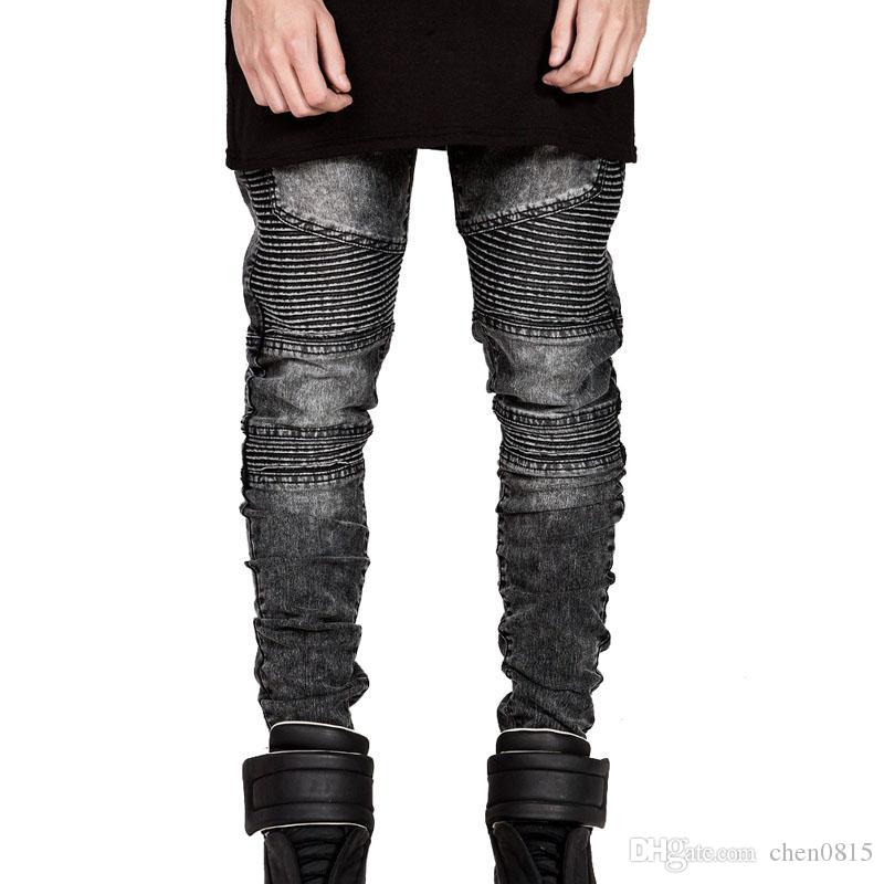 Al por mayor-Mens Skinny Biker Jeans Men 2016 Hi-Street Ripped Rider Jeans Denim Motocicleta Runway Slim Fit Washed Moto Denim Pantalones Joggers