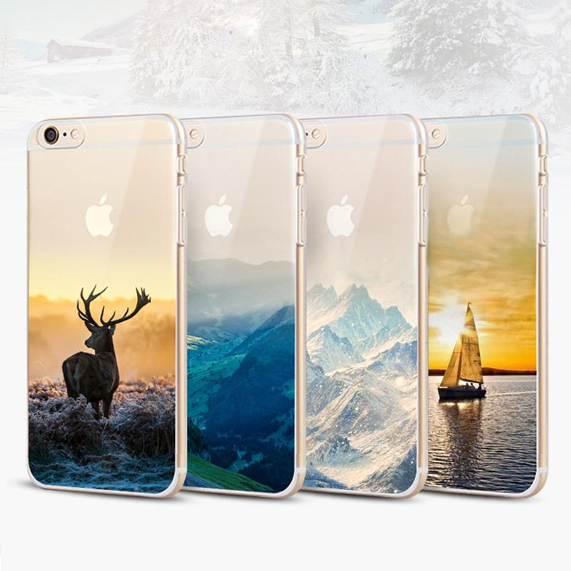 The scenery For Apple iphone 8 8 plus 7 plus 6S silicone coloured drawing case landscape Plating TPU Clear cell phone cases DHL SCA358