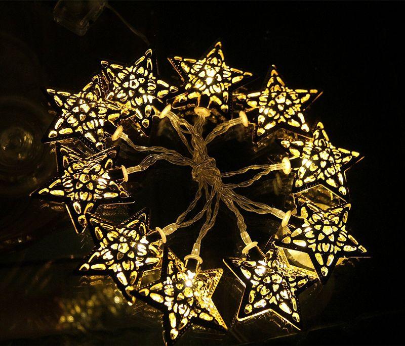 BATTERIA GUARDA WACK LED LED String Lights 10 Metal Star Decoration Light Festival Halloween Christmas Party Wedding Argento