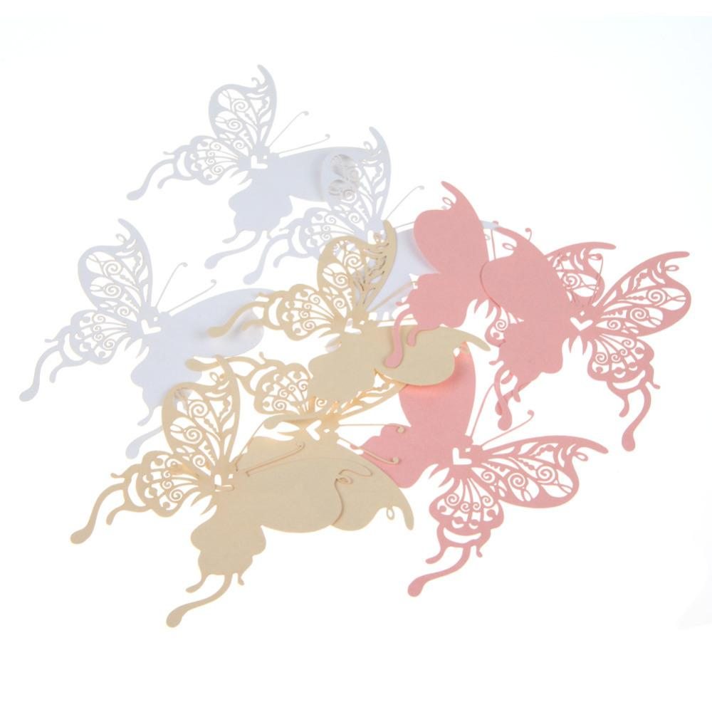 Paper Cards Creative Butterfly Heart Wine Glass Place Card for Wedding Party Decoration