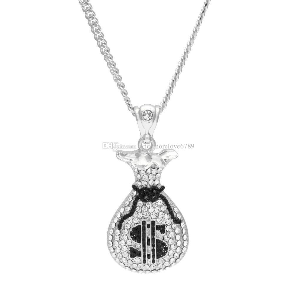 Pendente della borsa dei soldi del dollaro degli Stati Uniti d'avanguardia d'avanguardia di Hip Hop con il regalo dei monili della collana della catena lunga di fascino di cristallo gli uomini