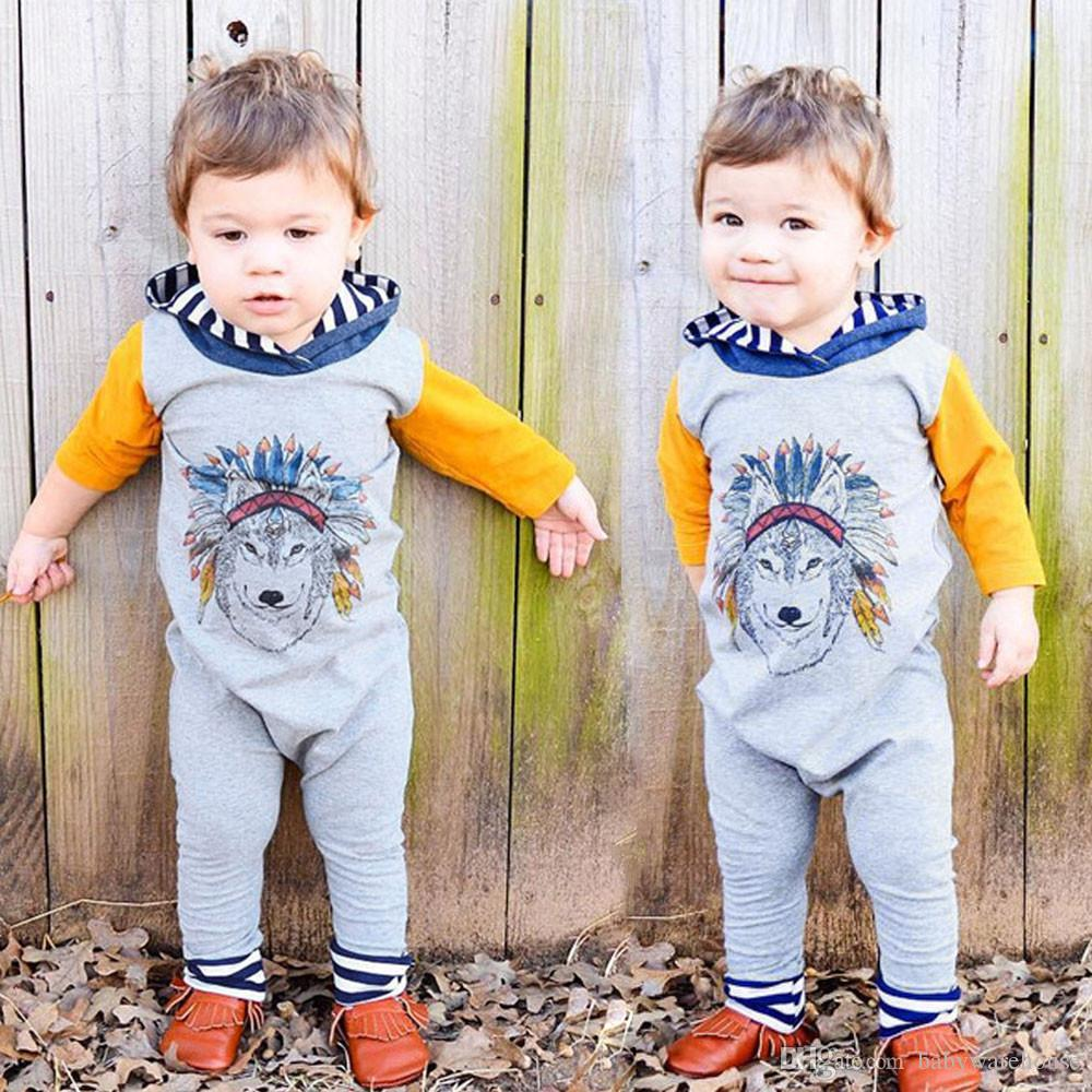 f1e8e132acee 2019 Baby Clothes Sets Fashion Spring Autumn Newborn Baby Boys Girls Indian  Wolf Hoodie Romper Jumpsuit Outfits Clothes Kids Children Clothing From ...