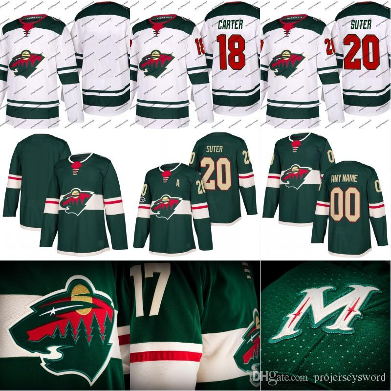 1912df02952 ... NHL Jersey Minnesota 2017 2017 18 New Season Minnesota Wild Jersey 18  Ryan Carter 19 Luke Kunin 20 Ryan Youth Ryan Suter Authentic Green ...