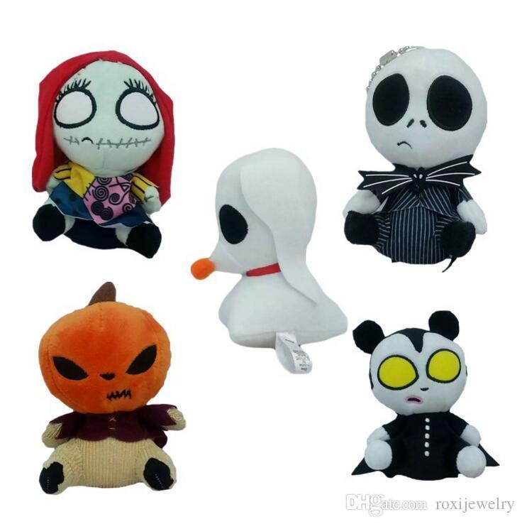 nightmare before christmas sally plush doll pendant beads pumpkin halloween skeleton jack plush toys children best gift lanyards stuffed zebra toy best