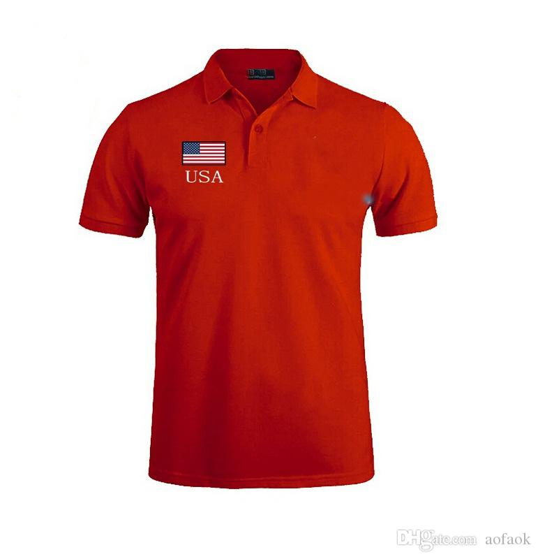 Hot sell new high quality Summer Hot Sale Polo Shirt USA American Flag Brand Polos Men Short Sleeve Sport Polo Man Coat Drop