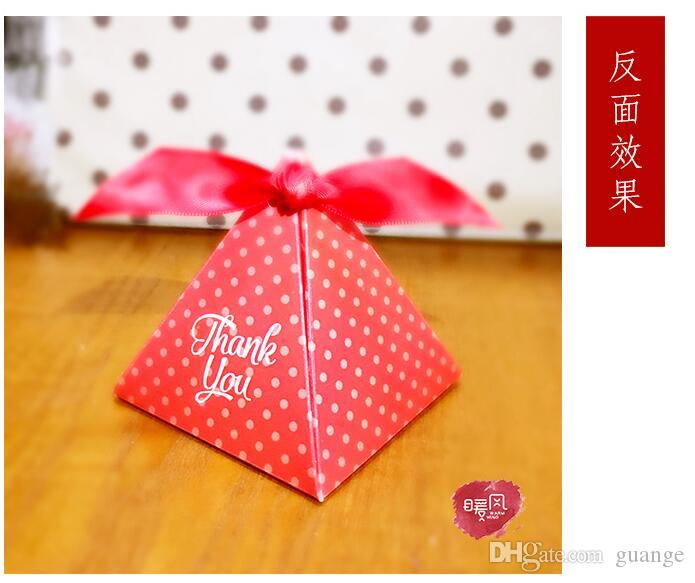 NEW European style red purple Pearl paper triangle pyramid Wedding box Candy Box gift boxs wedding favour boxes TH191