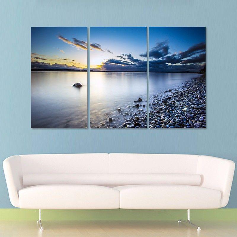 sea lake sun decoration stones seascape wall art pictures landscape dark blue sky Canvas Painting living room unframed